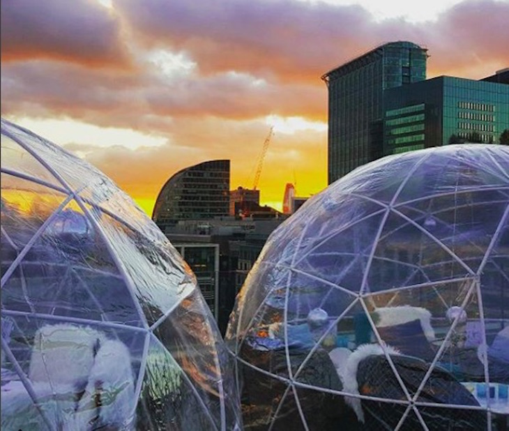 Rooftop igloos at Aviary, Finsbury Square: Winter igloos in London 2018