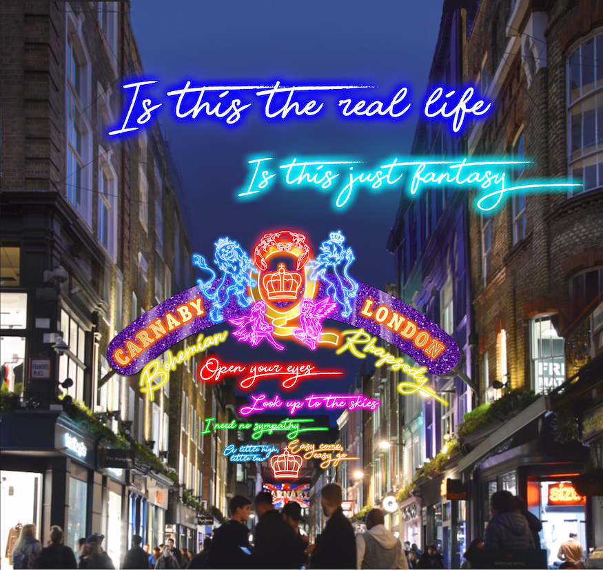 Bohemian Rhapsody lyrics Queen installation Carnaby  Street London
