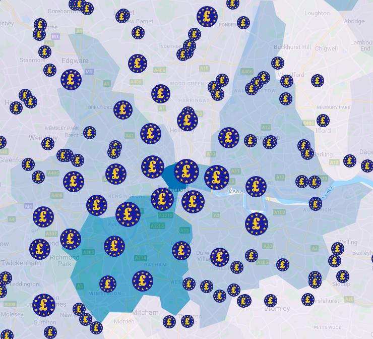 Map of EU funding in London