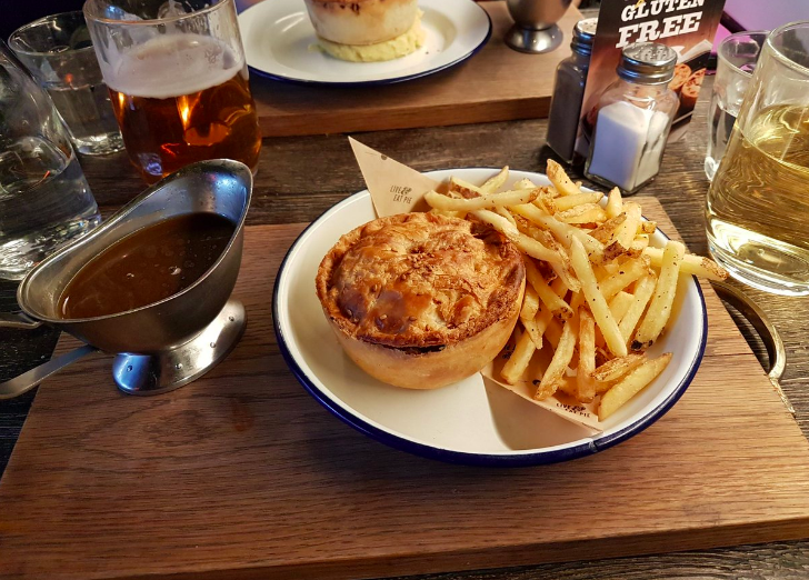 Gluten free comfort food and carbs for coeliacs London pies at Pieminster