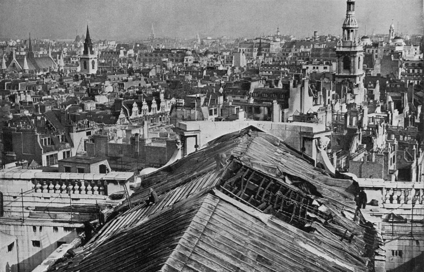 Bomb damage to St Paul's Cathedral in the Second World War.