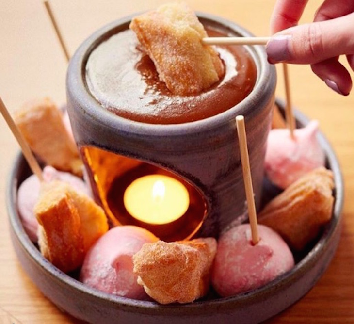 Salted caramel fondue at Tramshed - best chocolate fondues and comfort food in London