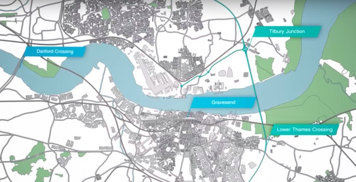 Lower Thames Crossing planned route map from Gravesend to Tilbury