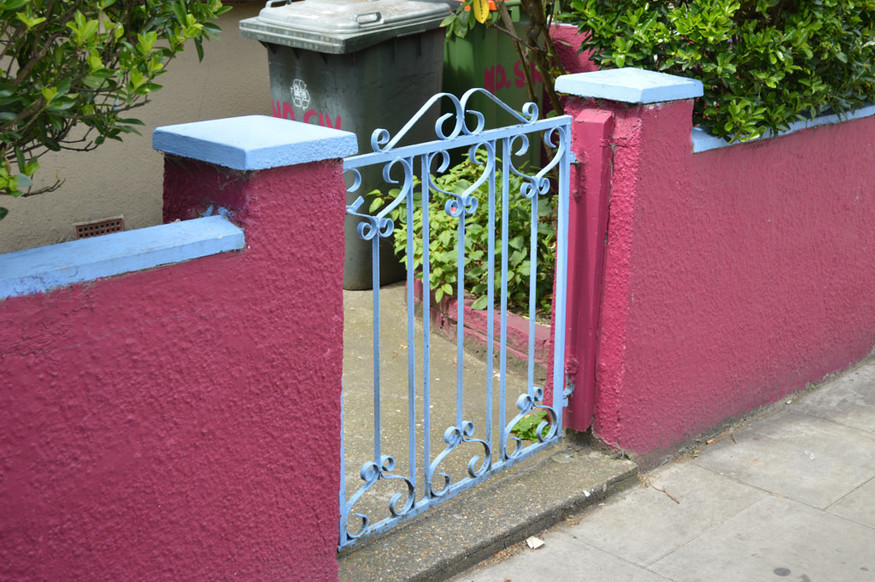 A wall painted in the colours of West Ham. Or perhaps Aston Villa. Or maybe Ribena.