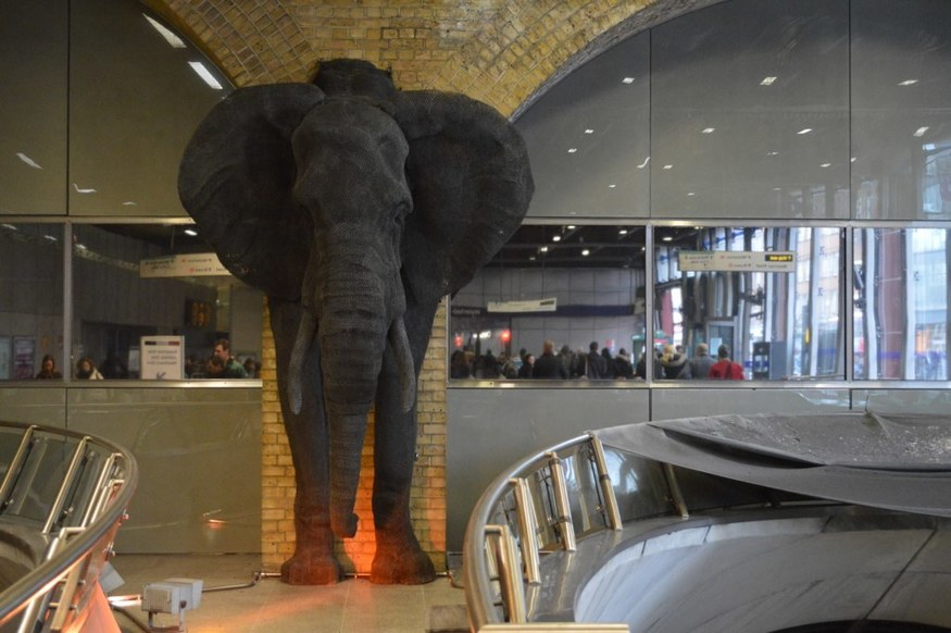 An elephant sculpture at Waterloo tube station.