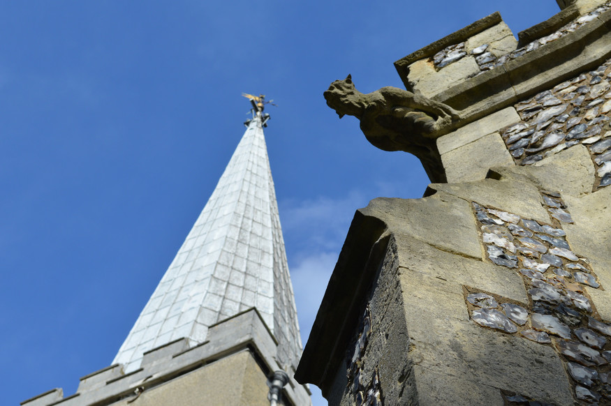 Spire and gargoyle of St Mary's Harrow.
