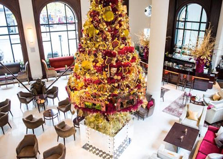 Christmas tree at One Aldwych: where to eat Christmas dinner in London on Christmas Day 2018