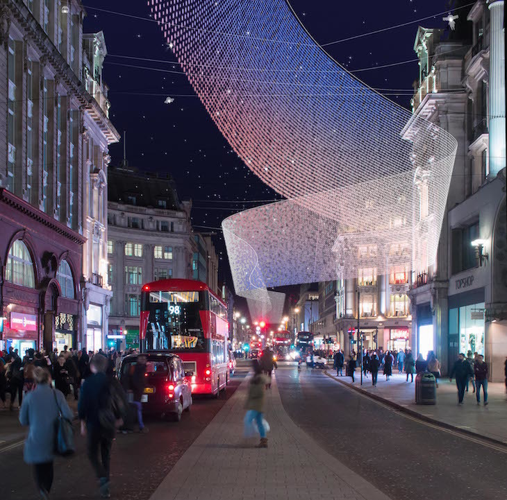 One of the designs for the new Oxford Street Christmas lights, by 3dreid - new Oxford Street Christmas lights 2018 designs delayed