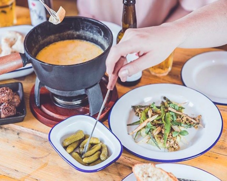 Cheese fondue at Alpes in Pop Brixton - best cheese fondues in London