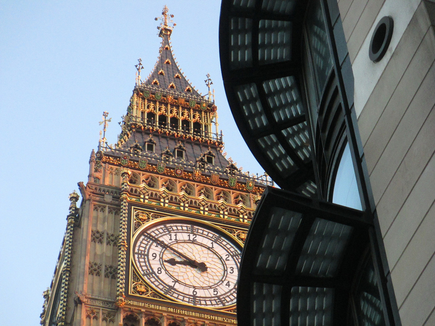 Big Ben clock face with Comic Sans numbers instead of Roman numerals.