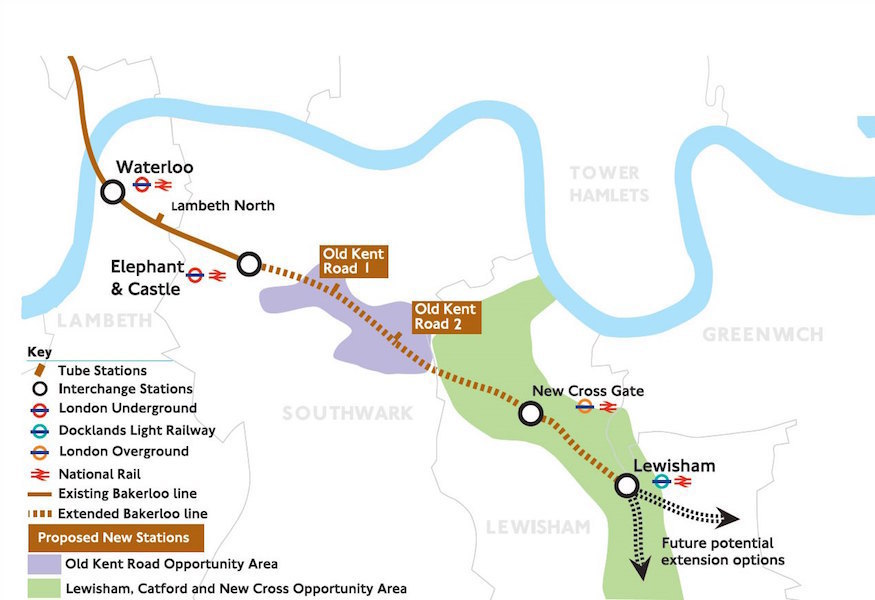 Bakerloo line extension route map plans