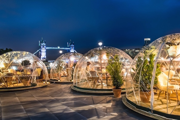 Coppa Club igloos : guide to Christmas in London, events, things to do, lights, markets, food, drink