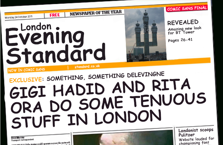 Evening Standard front cover.