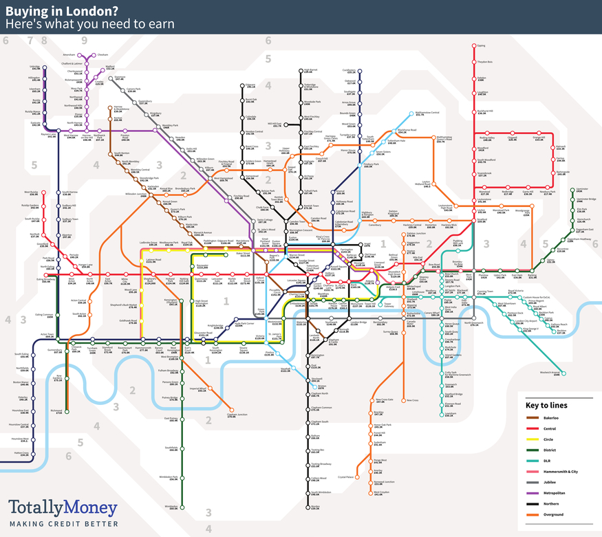 A Tube Map Of London Salaries: Updated   Londonist