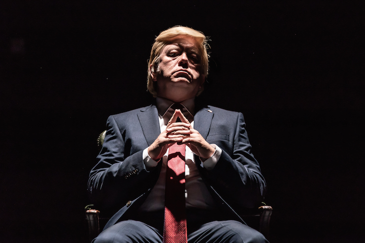 jon culshaw as donald trump in pinter one at harold pinter theatre