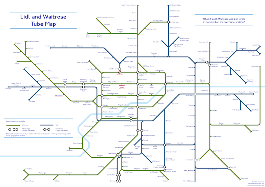 A tube map of Waitrose and Lidl stores.