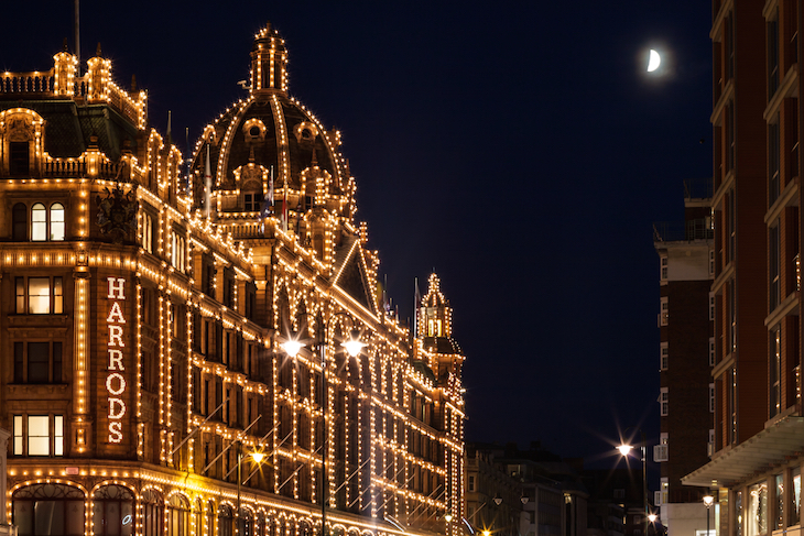 Christmas lights at Harrods: guide to Christmas in London, events, things to do, lights, markets, food, drink