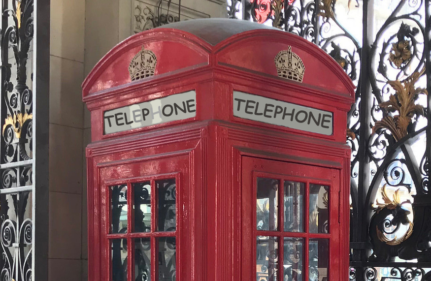 A London telephone box.