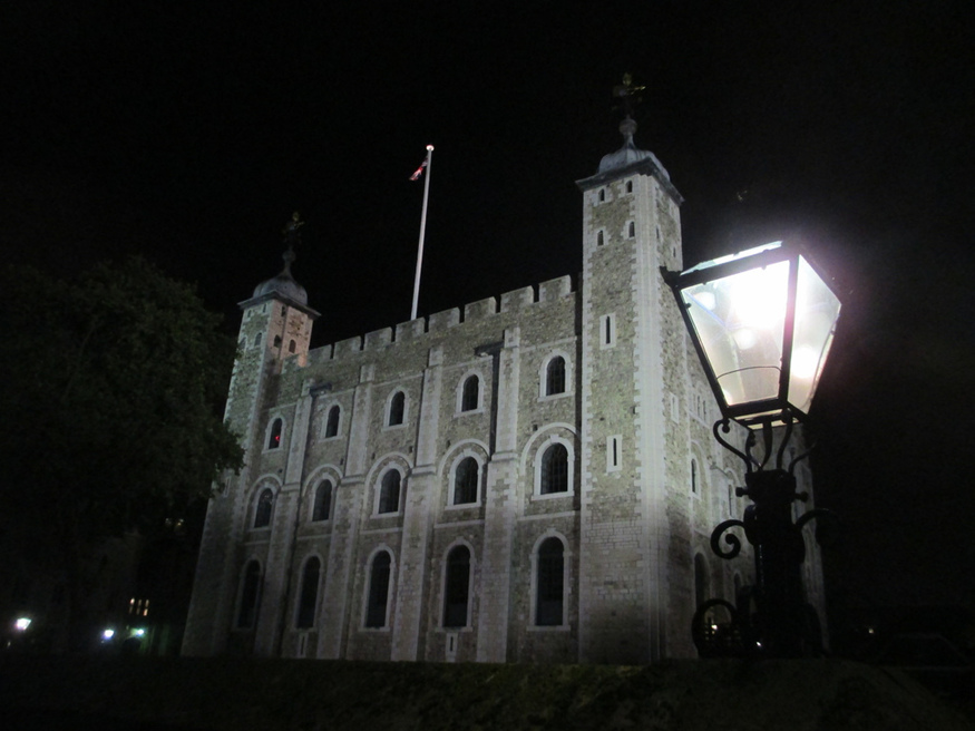 The White Tower at night.