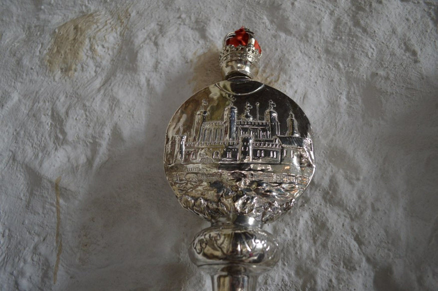 A mace at St Dunstan's Stepney, depicting the White Tower.