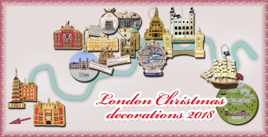 Christmas decorations shaped like London landmarks.