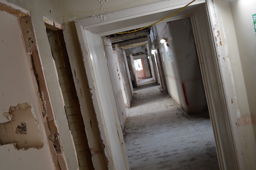 Stripped out corridor of the Euston Thistle