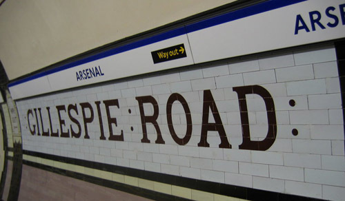 Tiles at Arsenal tube station, giving the former name of Gillespie Road.