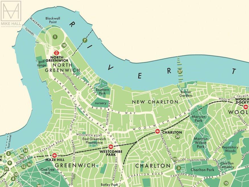 Map of Greenwich borough.