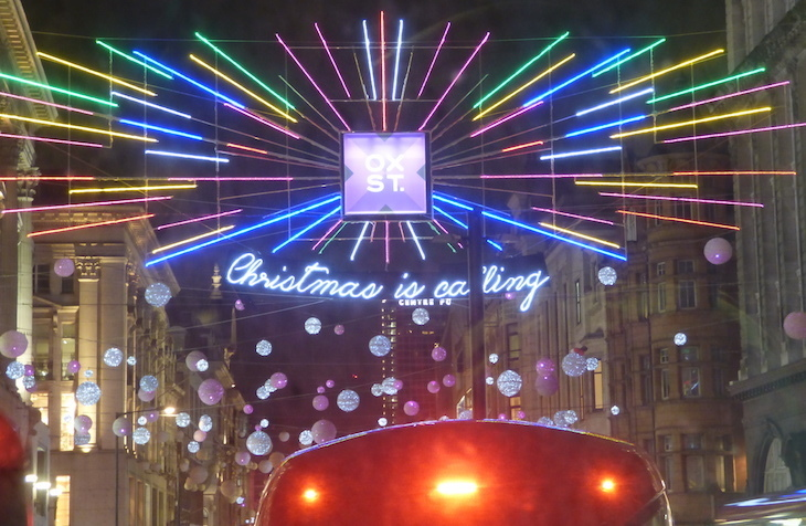 2018 Christmas lights above Oxford Circus: how to see London's Christmas lights by bus
