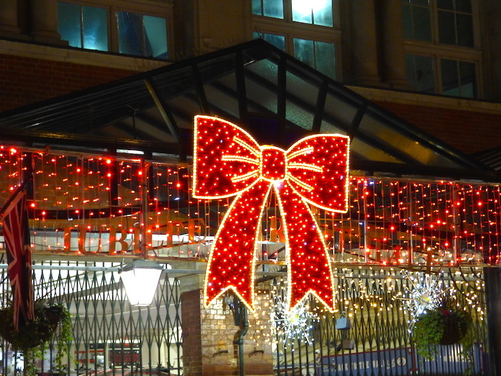 Covent Garden's Jubilee Market is festooned with giant bows: