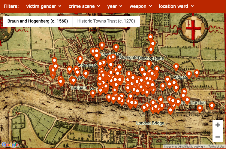 London Map Location.Medieval Murders In The Square Mile Mapped Londonist
