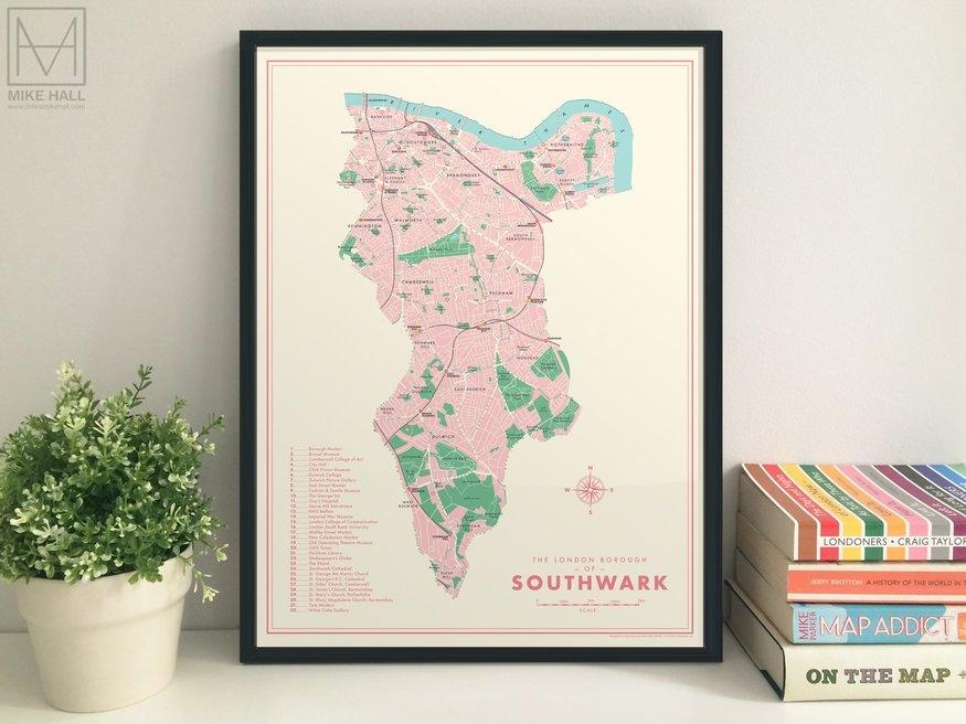 Map of Southwark borough.