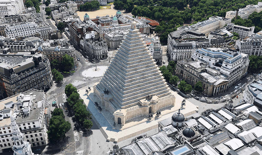 A pyramid in Trafalgar Square.