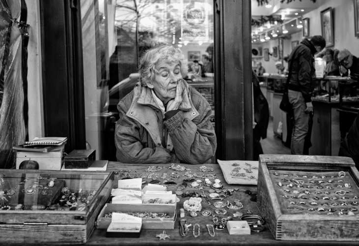 Lady sells wares, Portobello Market