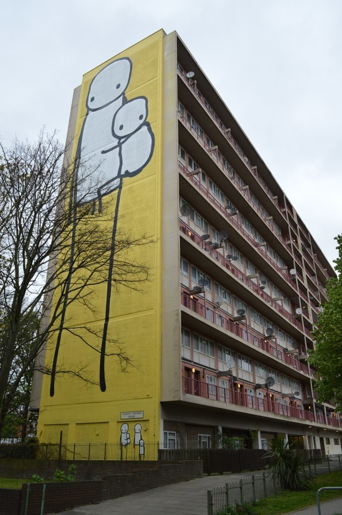 Big Mother mural by Stik fills one side of an Acton tower block.