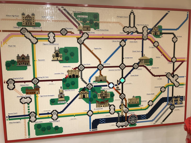 A lego tube map, which includes a bit of the Overground, a tiny bit of DLR, and the word 'Bakerloo' next to the wrong Edgware Road.