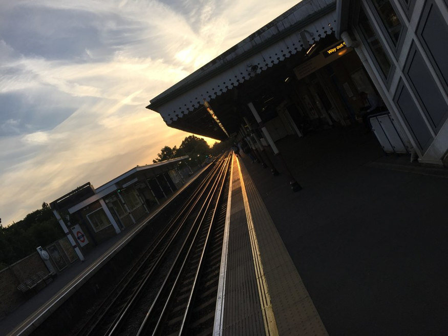 Sunset on railway lines at Pinner.