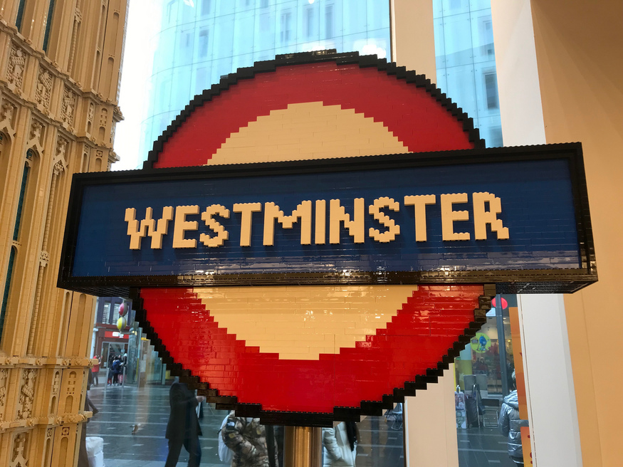 A lego tube roundel saying Westminster