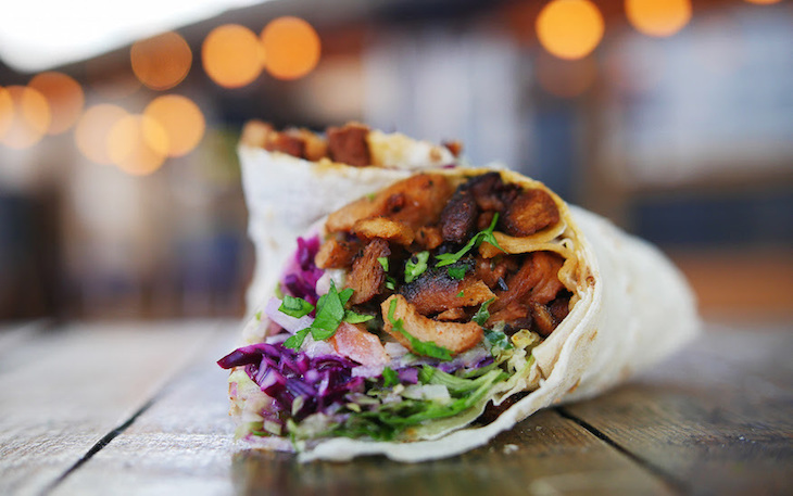Vegan doner kebab at What The Pitta, Shoreditch, London: guide to vegan food, drink and restaurants in London