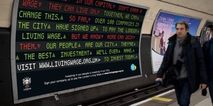 Posters Promoting London Living Wage Plastered Around The Underground