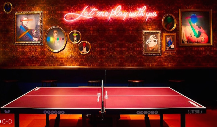 Bounce along to this subterranean London bar where ping pong and cocktails reign supreme