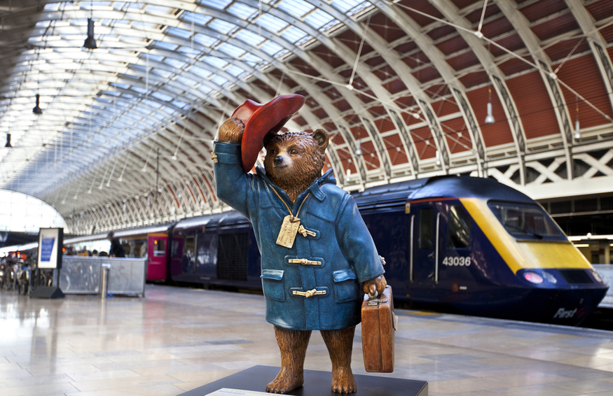 Paddington Bear in the station.