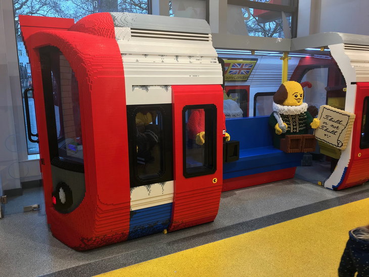 Lego tube line, with bonus model of Shakespeare