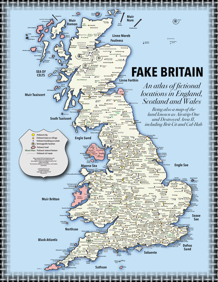 Uk Map Of Britain.Fake Britain A Map Of Fictional Locations In England Scotland And