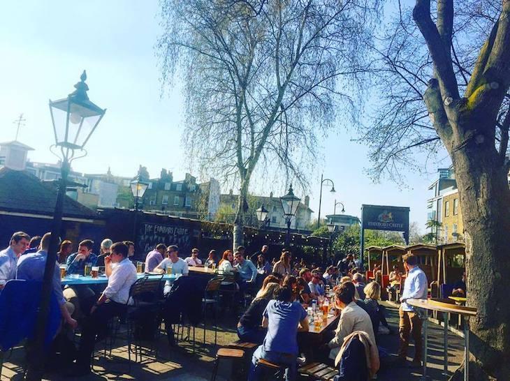 Enjoy the big beer garden at The Edinboro Castle pub in London