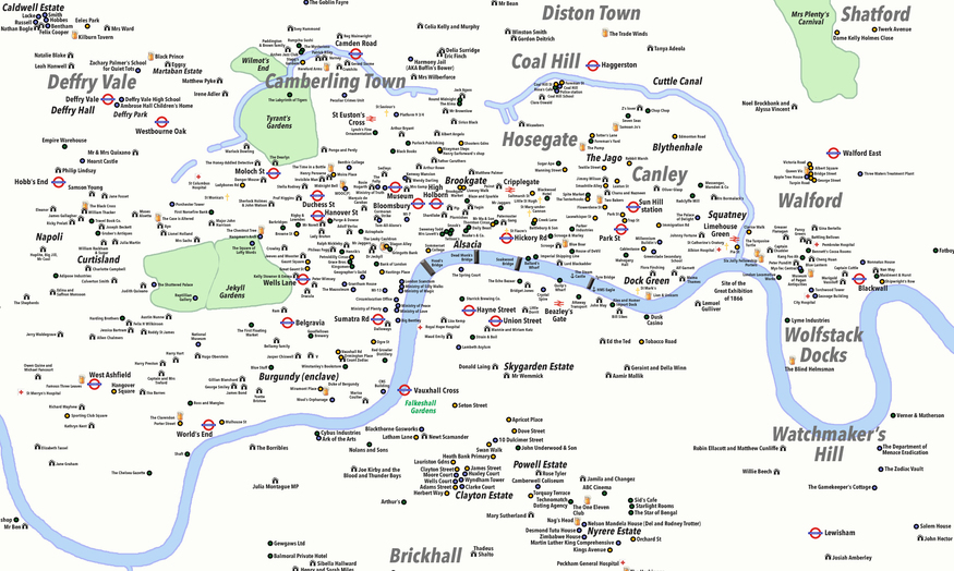 London City Area Map.Unreal City A Map Of Fictional London Londonist