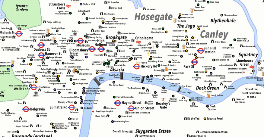 Map City London.Unreal City A Map Of Fictional London Londonist