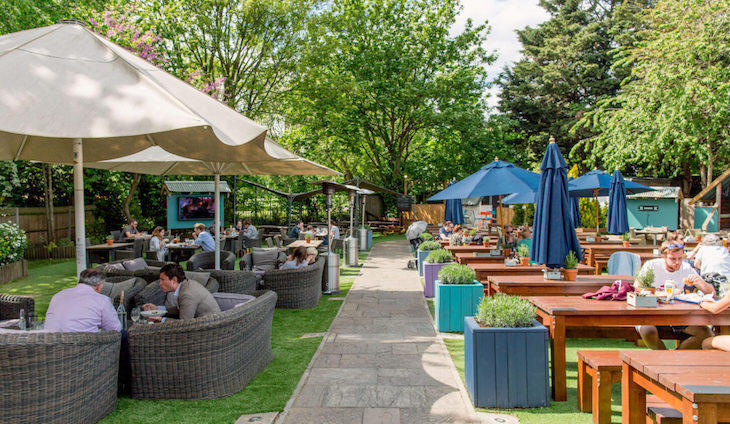 Enjoy the huge beer garden at Leather Bottle, one of London's best pub gardens