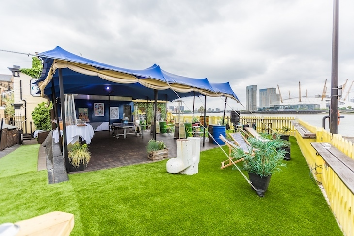 Right on the Thames, The Gun's beer garden is one of the best in London