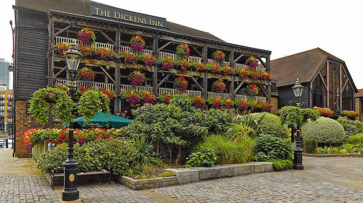 Waterside boozing at The Dickens Inn, home to one of the best beer gardens in London